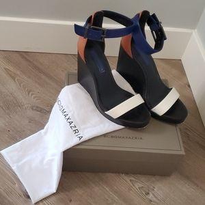 BCBG  color block wedge sandals - sz 8M